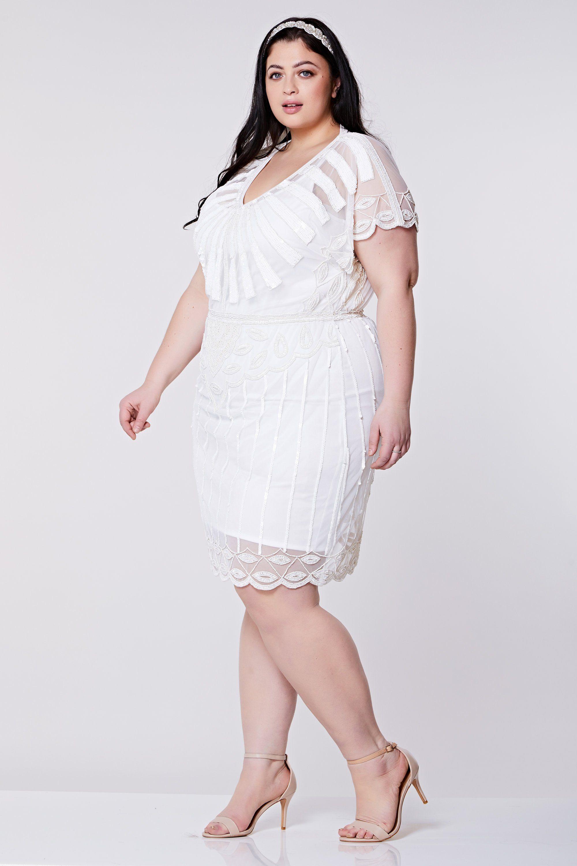 US28 UK32 AUS32 EU60 Plus Size Angel Sleeve Off White 20s