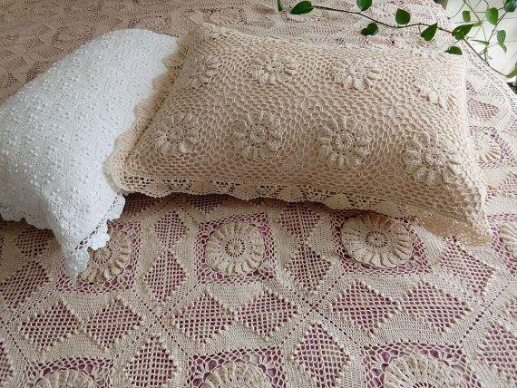 Hand Crochet Pillow Shams Cotton Handmade Pillow Cases Pillow