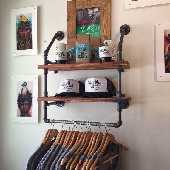 Industrial Clothing Rack and Double Shelf - Closet ...