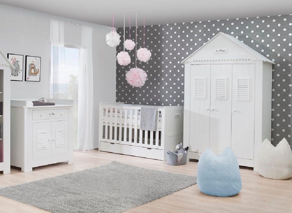 details zu babyzimmer kinderzimmer weiß saint-tropez set c ... - Kommode Kinderzimmer Weis