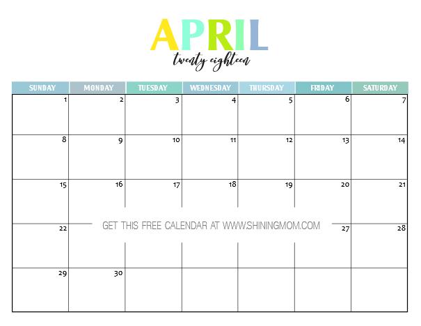 Calendario Diario.Free Printable 2018 Calendar Pretty And Colorful Villa