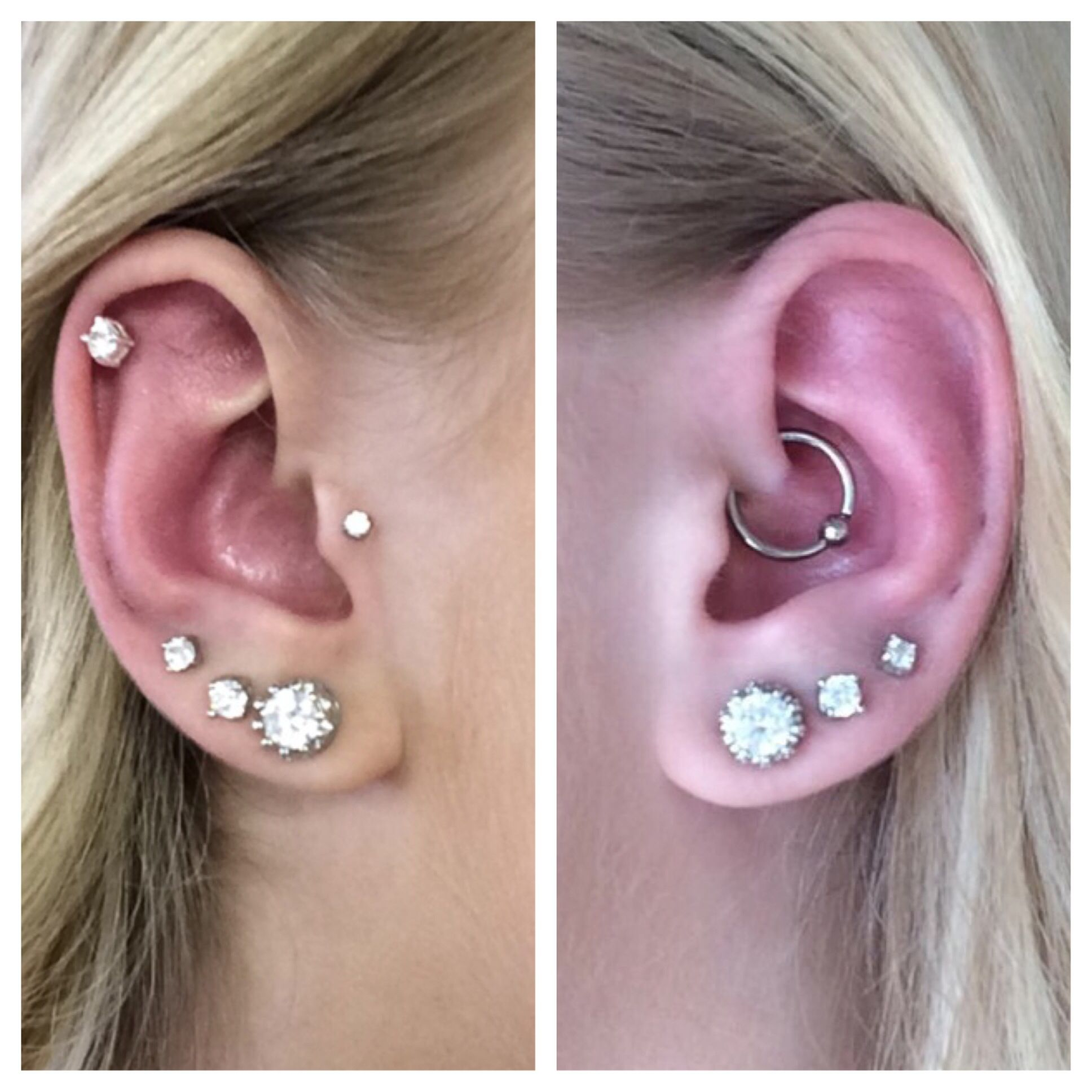 bcaa84091 Left ear: Triple lobe, Tragus and helix Right ear: Triple lobe, Daith  Pierced at Jaded Soul Living art in Gresham, OR
