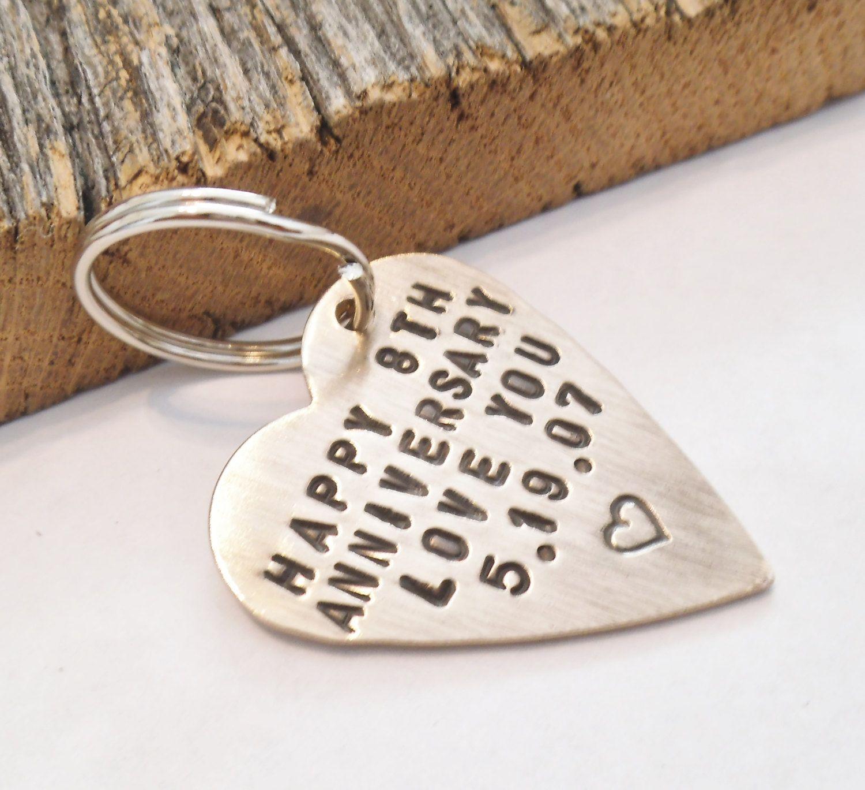 8 Year Wedding Anniversary Gift For Him: Anniversary Keychain For Wife 8 Year Anniversary For