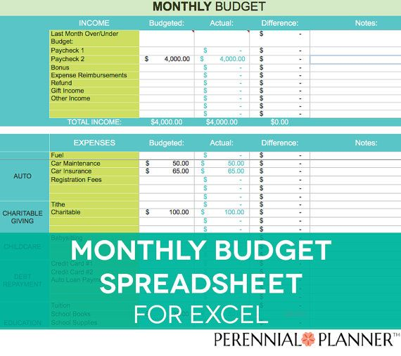 Monthly Budget Spreadsheet, Household Money Tracker, Microsoft Excel