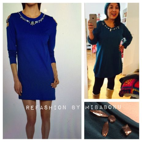 Before & after Embellished Dress by Mibaboku   Easy way to #refashion your old cloth