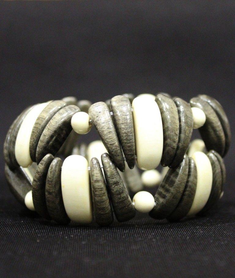 Двухцветный браслет из серого и белого дерева вбр575