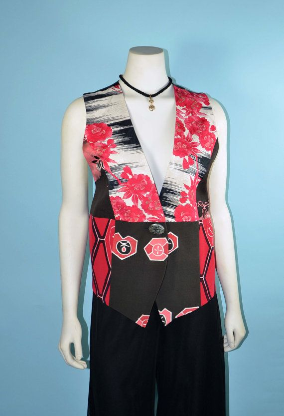 Vintage Japanese Vest made From Recycled Silk   vintage on etsy