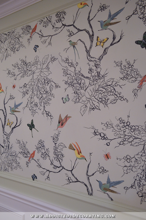 Hand Drawn Birds Butterflies Entryway Wall Mural Finished Diy