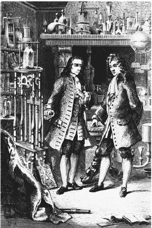 Kuva 1600-luvun laboratoriosta, jossa ovat Robert Boyle ja Denis Papin.  Boyle-Papin-Digester - Tekniikan historia – Wikipedia