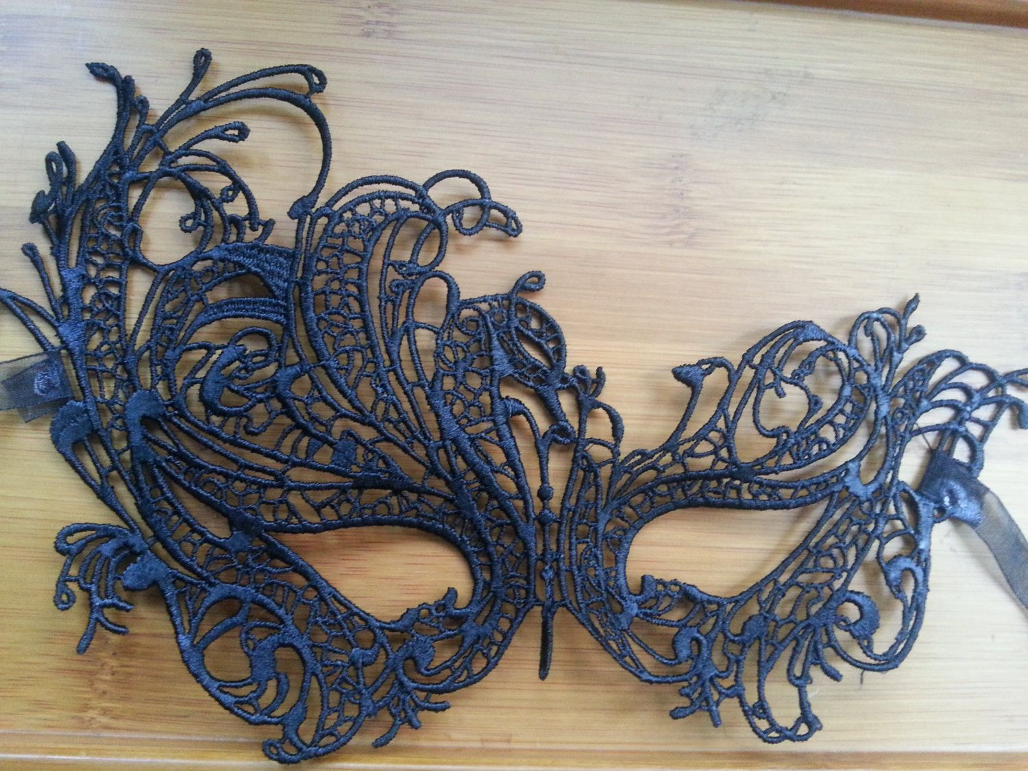 Vintage Black Lace Mask Lace tie back Queen Mask by skulllace