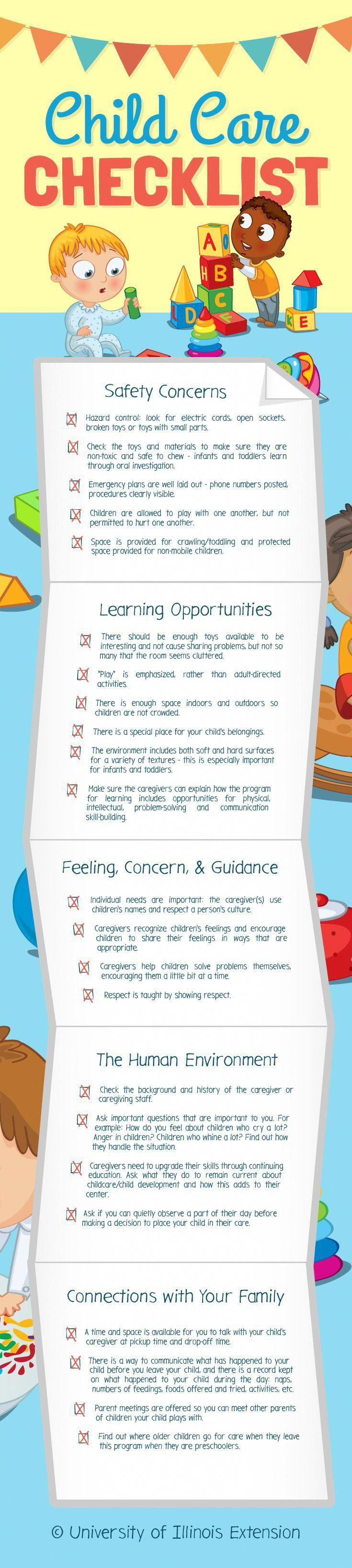 Child care checklist great resource for parents of