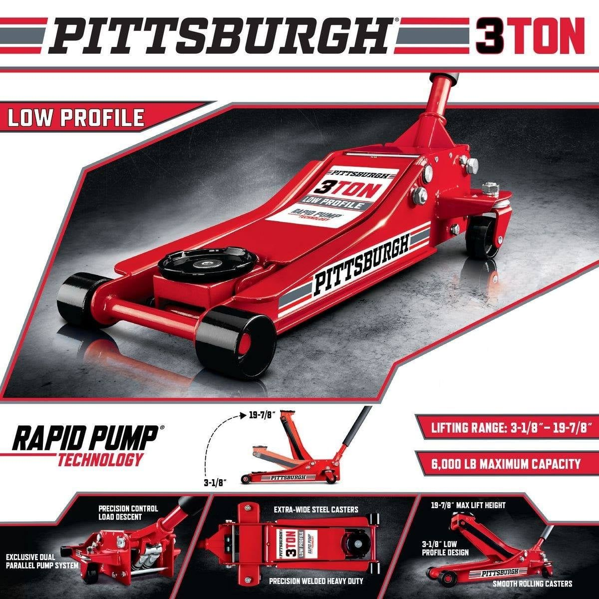 Buy the Pittsburgh 3Ton LowProfile Floor Jack in Red for