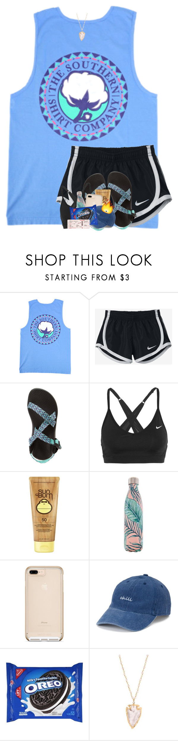 """gerogia bound ☀️"" by theblonde07 ❤ liked on Polyvore featuring NIKE, Chaco, Sun Bum, S'well and SO"