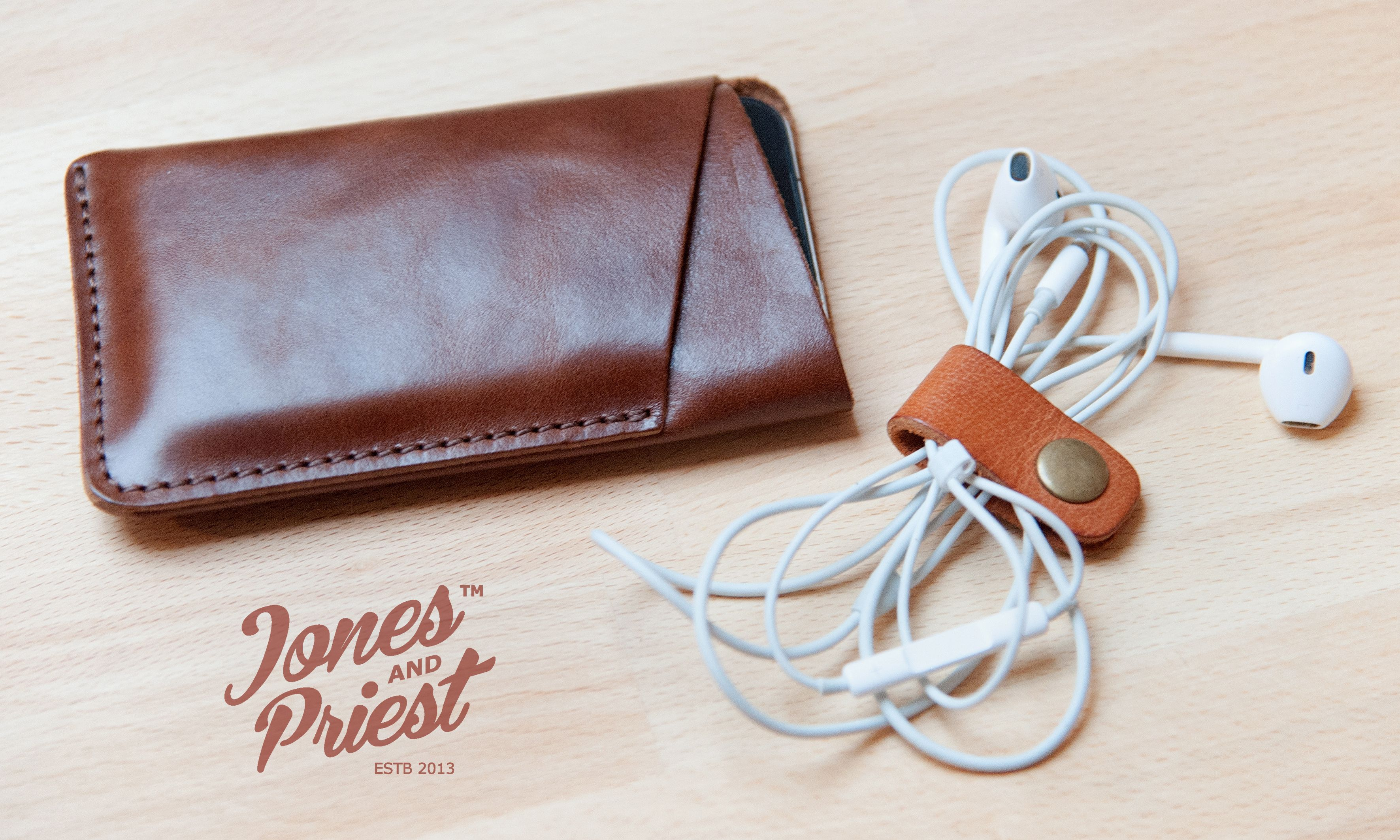 Handmade Leather Iphone Sleeve by Jones&Priest