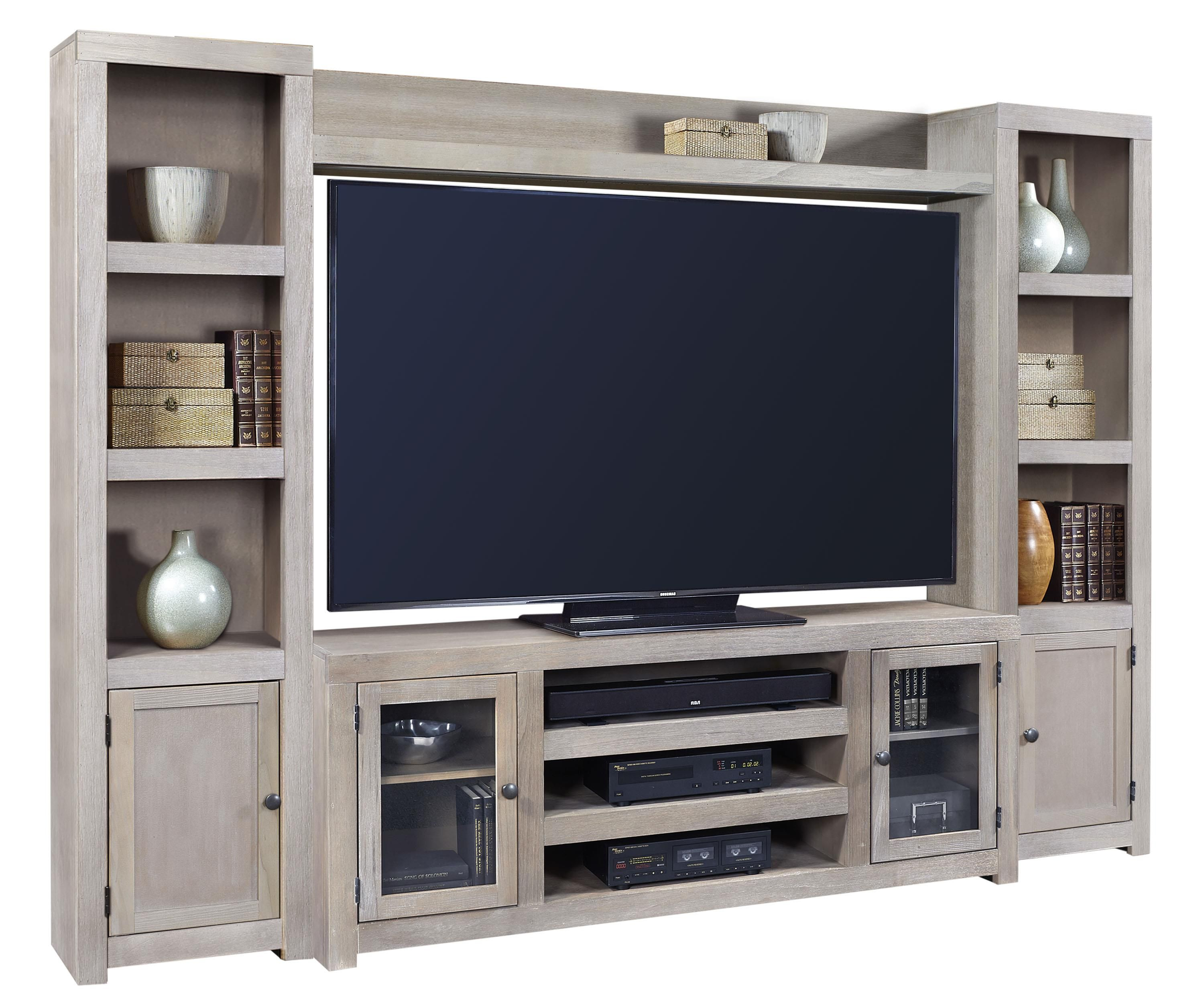 Contemporary driftwood entertainment wall with doors and open