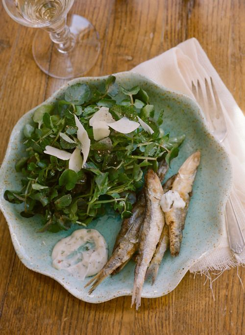 plate of fish and salad