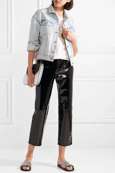 8b37b025591 Gucci - Pursuit Crystal-embellished Leather And Rubber Slides - Black