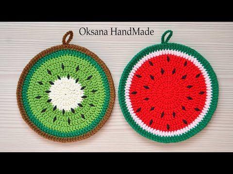 Подставки крючком Киви и Арбуз. Мастер класс. Coasters crochet, crochet pattern.