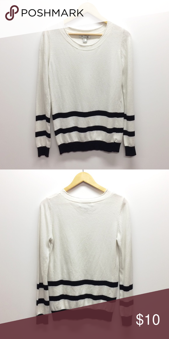 Say It Ain't So sweater The best time to wear a striped sweater is all the time. One that's light-weight and white with stripes. That's the kind.   •No trades •No holds •Offers & bundles made through the offer/bundle tools Forever 21 Sweaters Crew & Scoop Necks