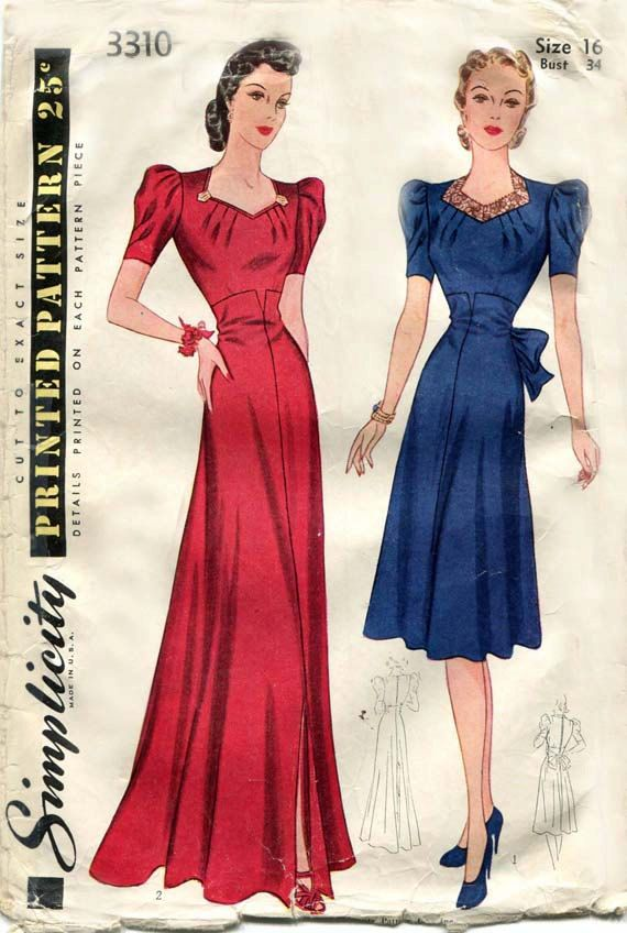 1940s Sewing Pattern Sophisticated Day Dress and Elegant Evening ...