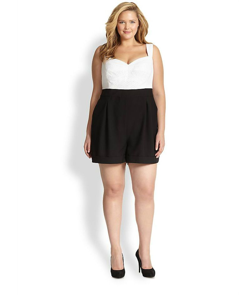 6847aa368e91 ABS Plus Size Eyelet Shorts Jumpsuit on The Curvy Fashionista
