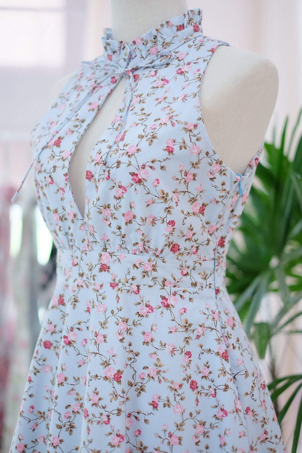 Floral blue dress blue party dress beautiful cottage dress country