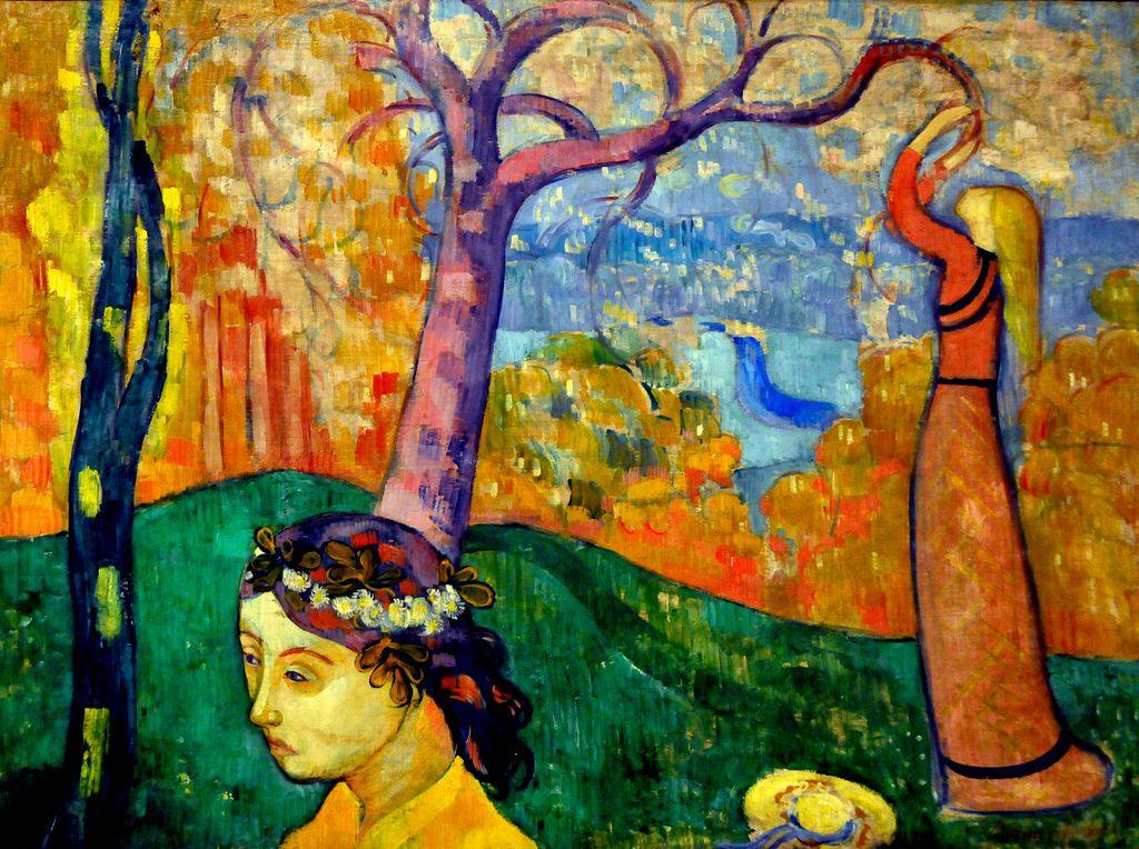 Émile Bernard (1868 - 1941) was een Franse symbolistische kunstschilder. Zijn werken behoren tot het symbolisme. Later verlaat hij het pointillisme en gaat evenals Gauguin in de zogenaamde cloisonnisme-stijl schilderen. Bij deze stijl worden grote kleurvlakken omrand door donkere contourlijnen, het bereikte effect lijkt op cloisonné.  Springtime, 1892 Boston Museum of Fine Arts