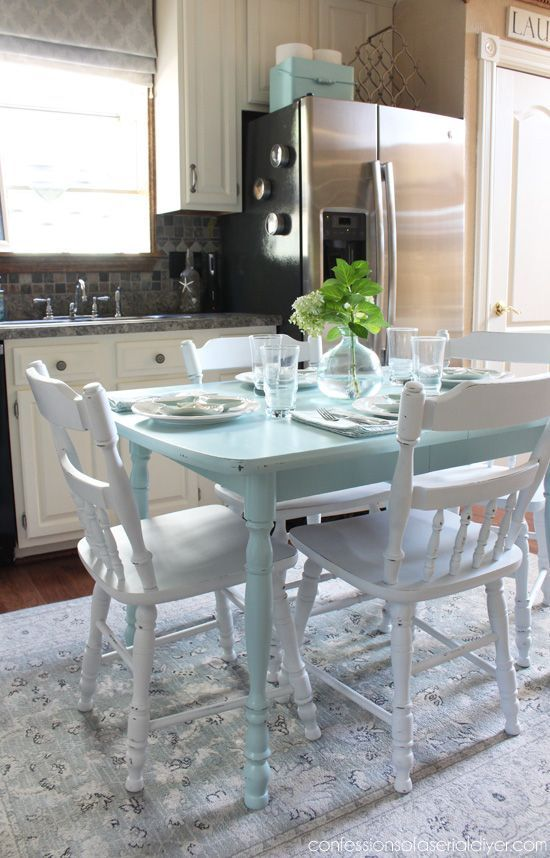 How to Paint a Laminate Kitchen Table   Painted kitchen ...