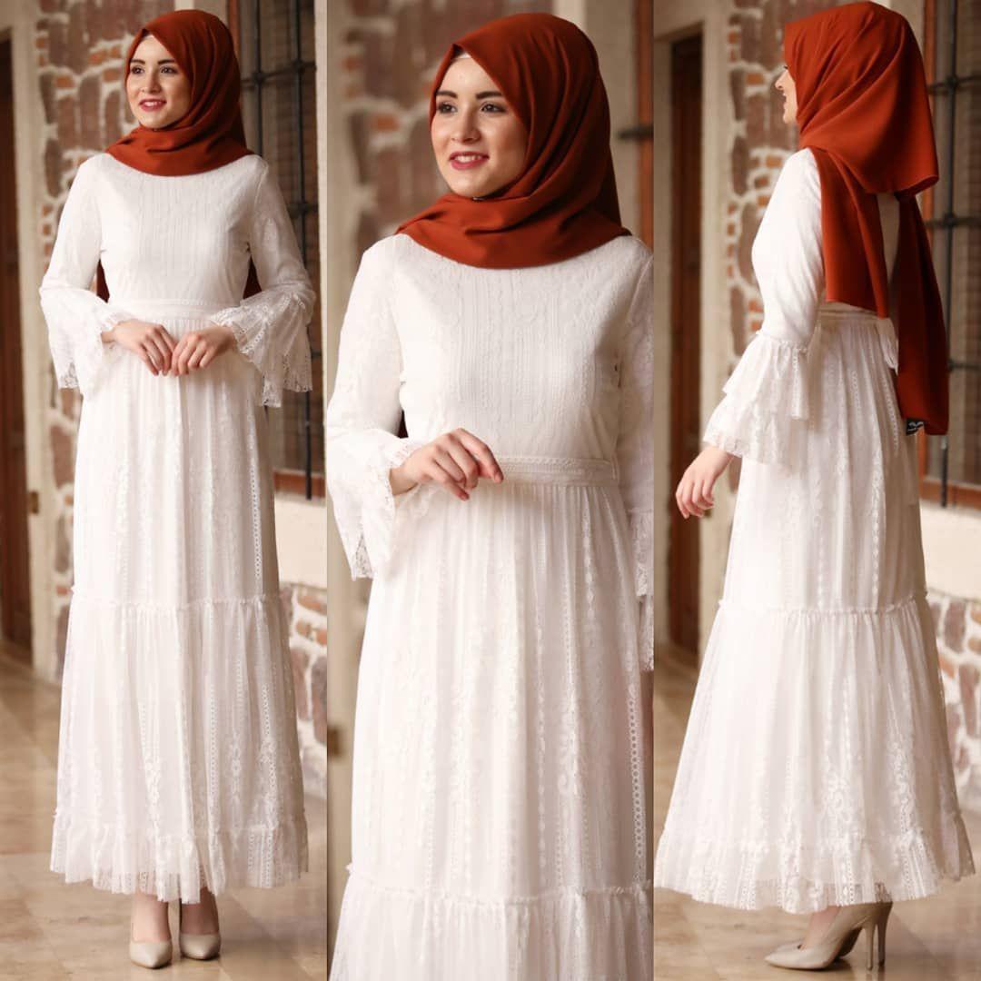 Yagmur Dantel Elbise Ekru Amh Tesettur Ferace Elbise Modelleri 2019 Dantel Elbise Elbise Moda Stilleri