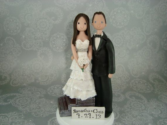 Short Bride & Tall Groom Personalized Wedding Cake by mudcards