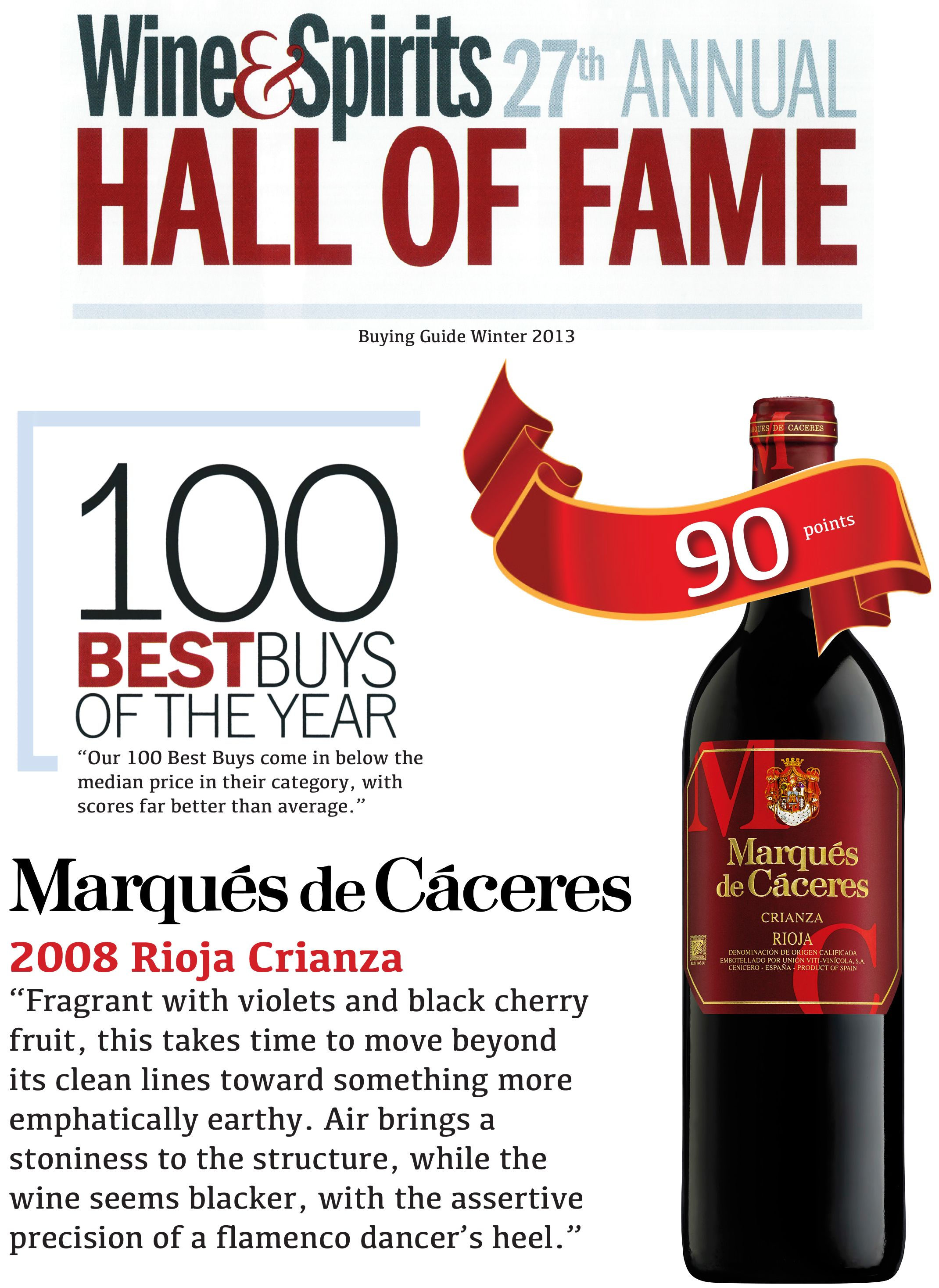 Marques De Caceres 2008 Rioja Crianza 100 Best Buys Of The Year Wine Spirits 27th Annual Hall Of Fame Cool Things To Buy Rioja Caceres