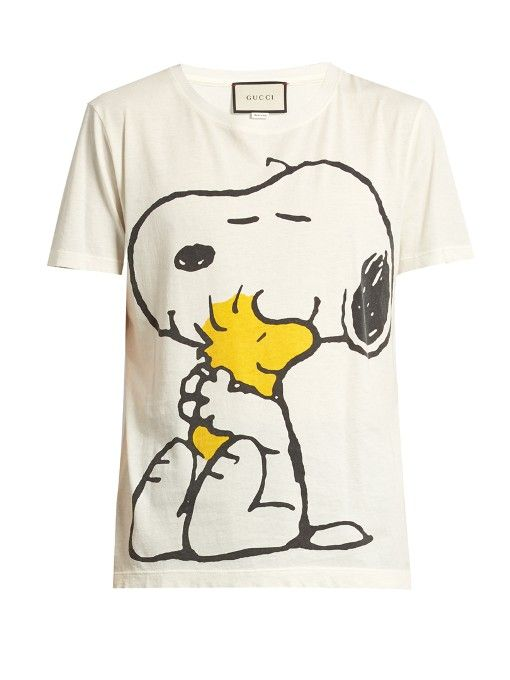 9f33185a2 GUCCI Snoopy and Woodstock-print cotton T-shirt. #gucci #cloth #t-shirt