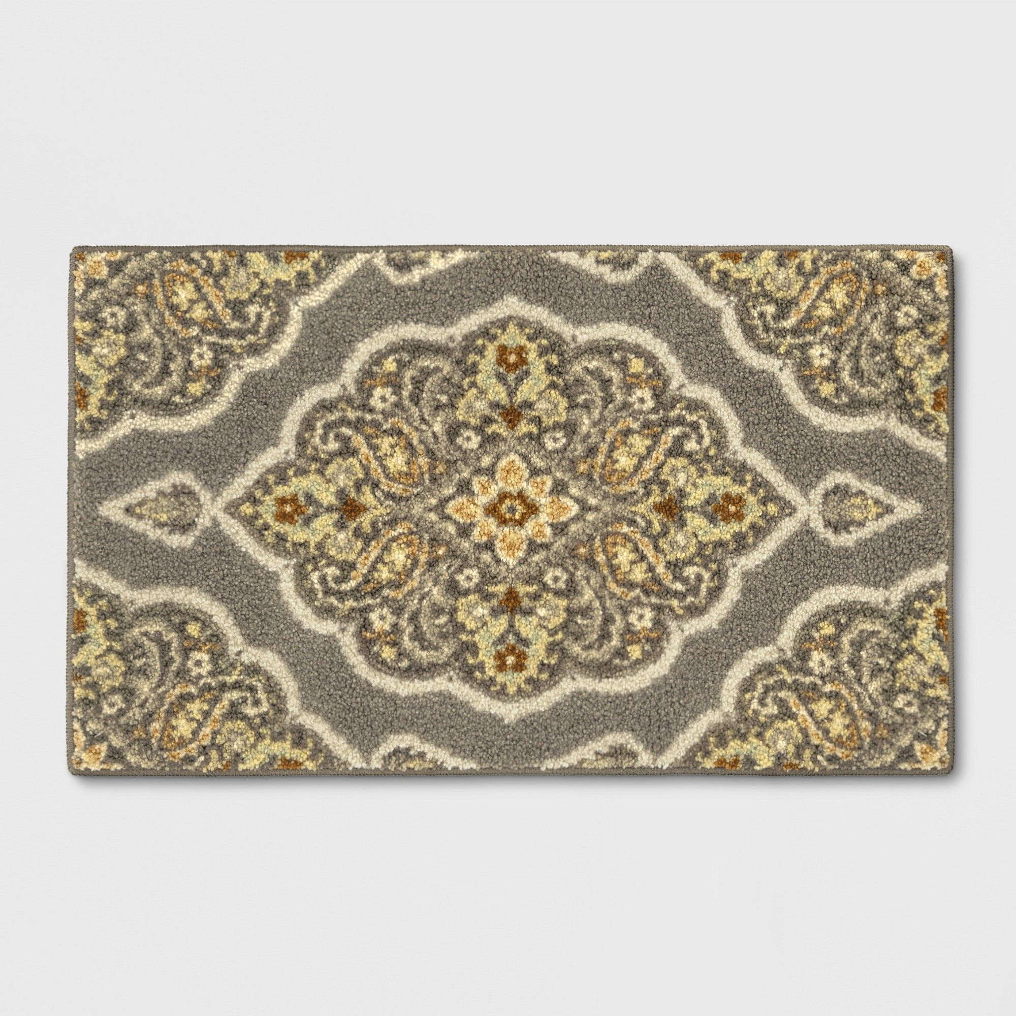 Gray Medallion Tufted Accent Rug 1 8 X2 10 20 X34 Threshold Grey Rugs Accent Rugs Blue Area Rugs