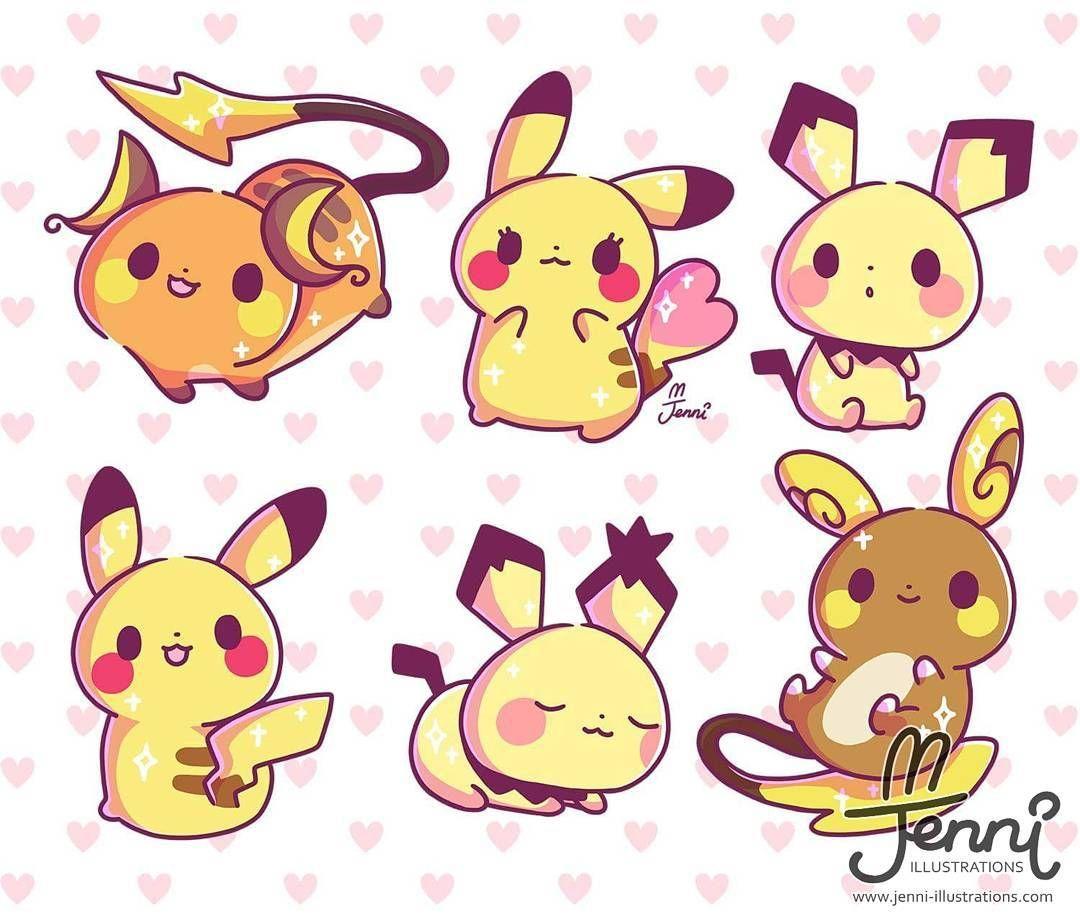 Chibi Pikachu Family Pikachulove Pikachu Pikachufamily Pokemon Raichu Pichu Alolaraichu Jenni Cute Pokemon Wallpaper Pikachu Cute Kawaii Drawings