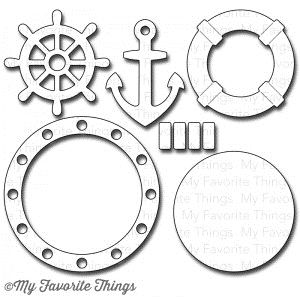 "MY FAVORITE THINGS My Favorite Things LET'S GET NAUTICAL Die-Namics MFT 01301 /1.4 $29.99  The Let's Get Nautical Die-namics coordinate with the Making Waves Die-namics, the Go Overboard Stamp Set, and Waves Stencil.  This is a six piece die set. The approximate measurements of the Let's Get Nautical Die-namics are - Wheel 2"" in diameter, Circle 2 1/4"" in diameter, Porthole 2 15/16"" in diameter, Anchor 2"" x 1 3/8"", Life Preserver Tube 2 1/8"" in diameter, Bands on Life Preserver 1 1/16"" x…"