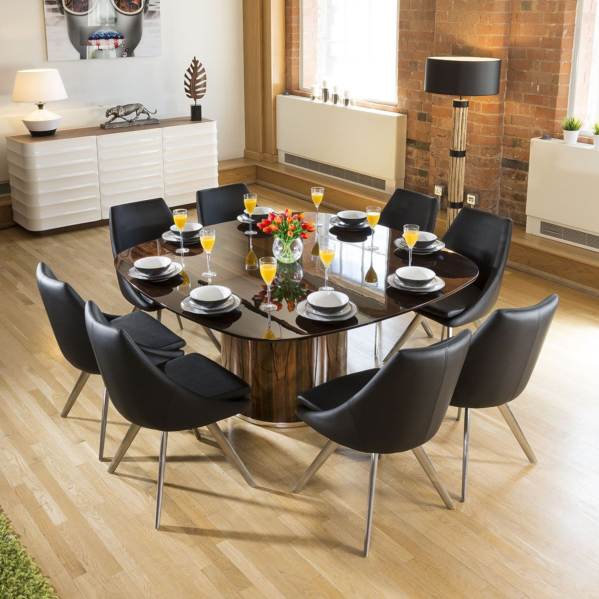 Large Luxury Square Eucalyptus Dining Table 8 Black Modern Chairs Large Square Dining Table Square Dining Tables Dining Furniture Sets