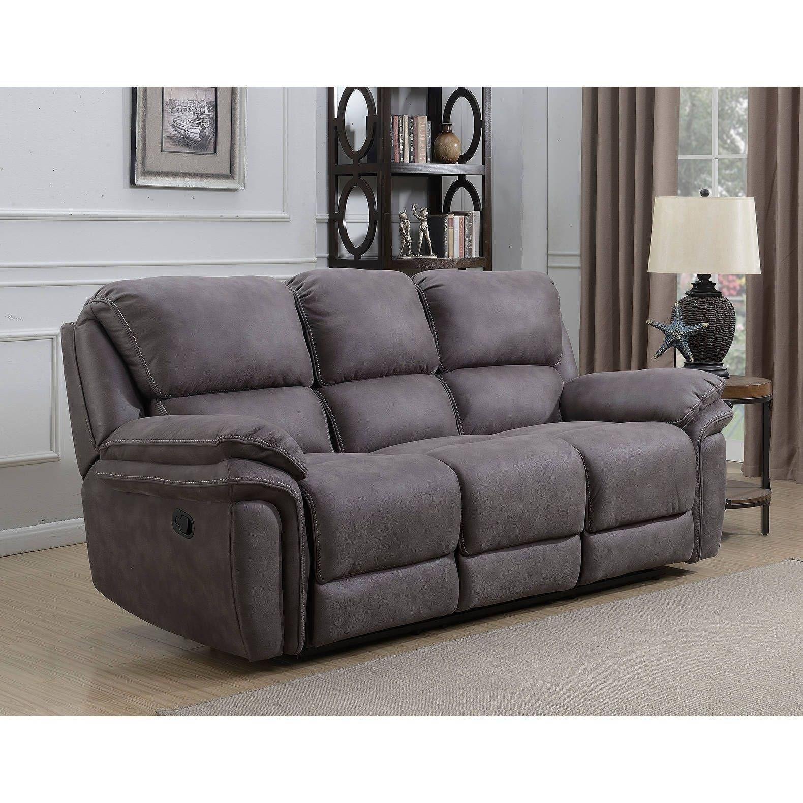 Henry Dual Lay Flat Grey Fabric Reclining Sofa with Memory Foam Seat ...