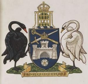 The old-world imagery of the Canberra coat of arms.
