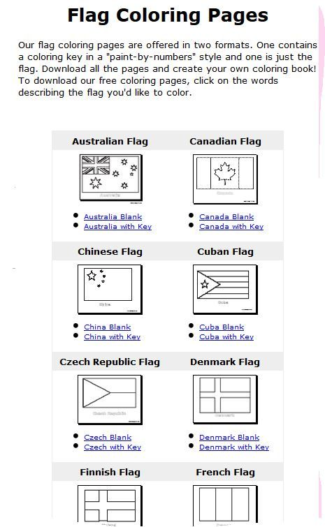 flags of the world coloring pages with color key education
