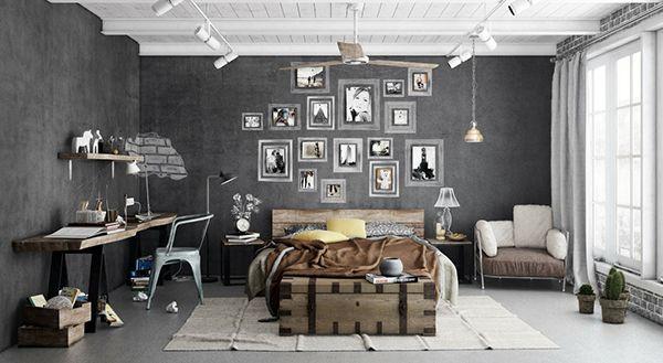 mooie industrile slaapkamer met een mooie grijze muur houten bed en oude kist en een mooi houten bureau aan de muur