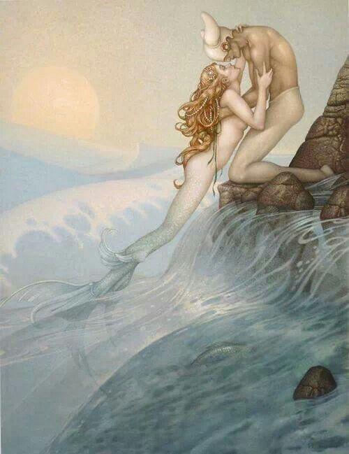 pearl-nautilus:  Michael Parkes - Mermaid Kiss