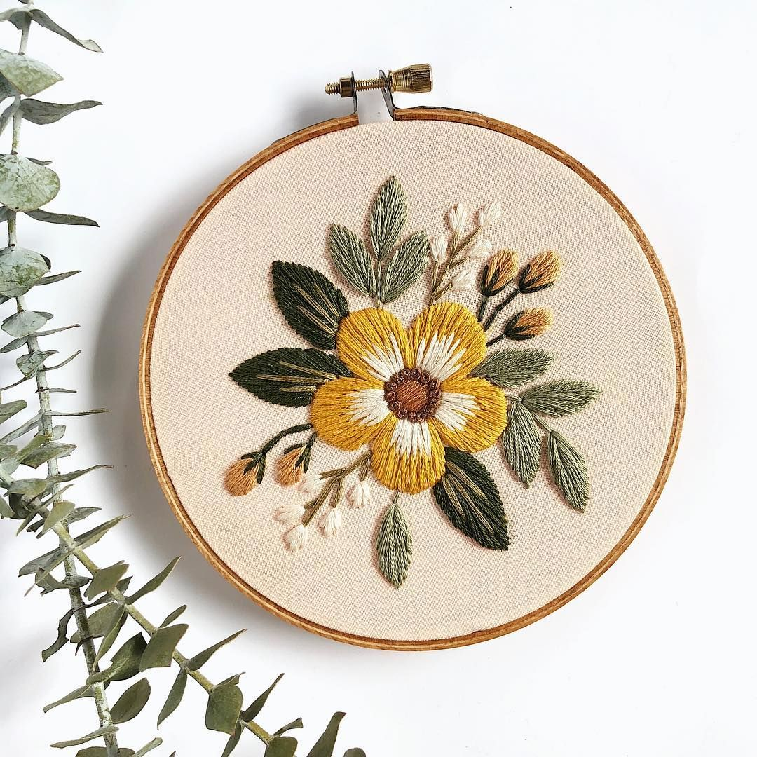 """Florals and Floss on Instagram: """"Earthy tones on a pale peach cotton. Clearly I've been loving the 5"""" hoops lately. This buddy is in the Etsy shop if you need a lil piece…"""""""