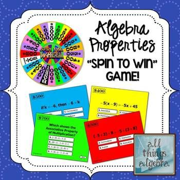 Properties in Math Spin to Win Game (Algebra 1 Version) | My TpT