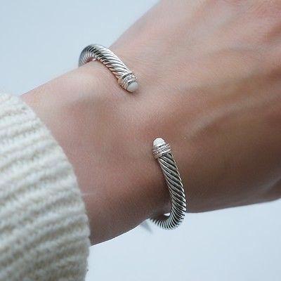 New DAVID YURMAN Color Classics Silver White Agate Cuff Bracelet Diamonds $625 - http://designerjewelrygalleria.com/david-yurman/new-david-yurman-color-classics-silver-white-agate-cuff-bracelet-diamonds-625/