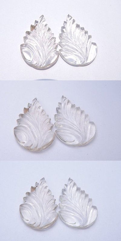 Rock Crystal Colorless 12317: 2 Pcs Extremely Beautiful Natural Rock Crystal Quartz Carved Leaves Size 37X26mm -> BUY IT NOW ONLY: $40 on eBay!