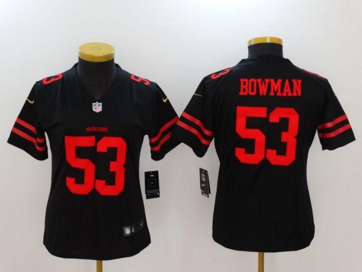 099543345 Women San Francisco 49ers 53 Bowman Black Nike Vapor Untouchable Limited  NFL Jersey