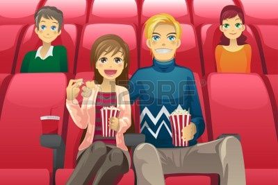 a vector illustration of a couple watching a movie in a movie theater