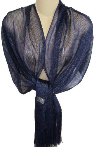 59059745d4f Sheer Navy Blue Fringed Evening Wrap Shawl for Prom Wedding Formal - Sale  Price   17.99