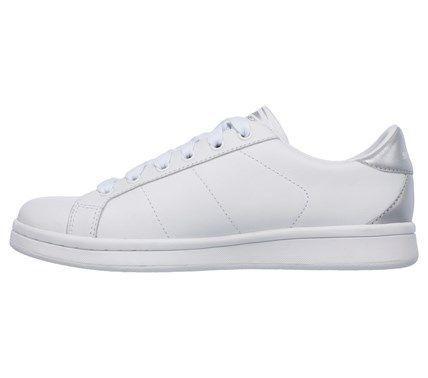 71bab326aa14 Skechers Work Women s Omne Kort Klassix Memory Foam Sneakers (White Silver)  - 7.0 M