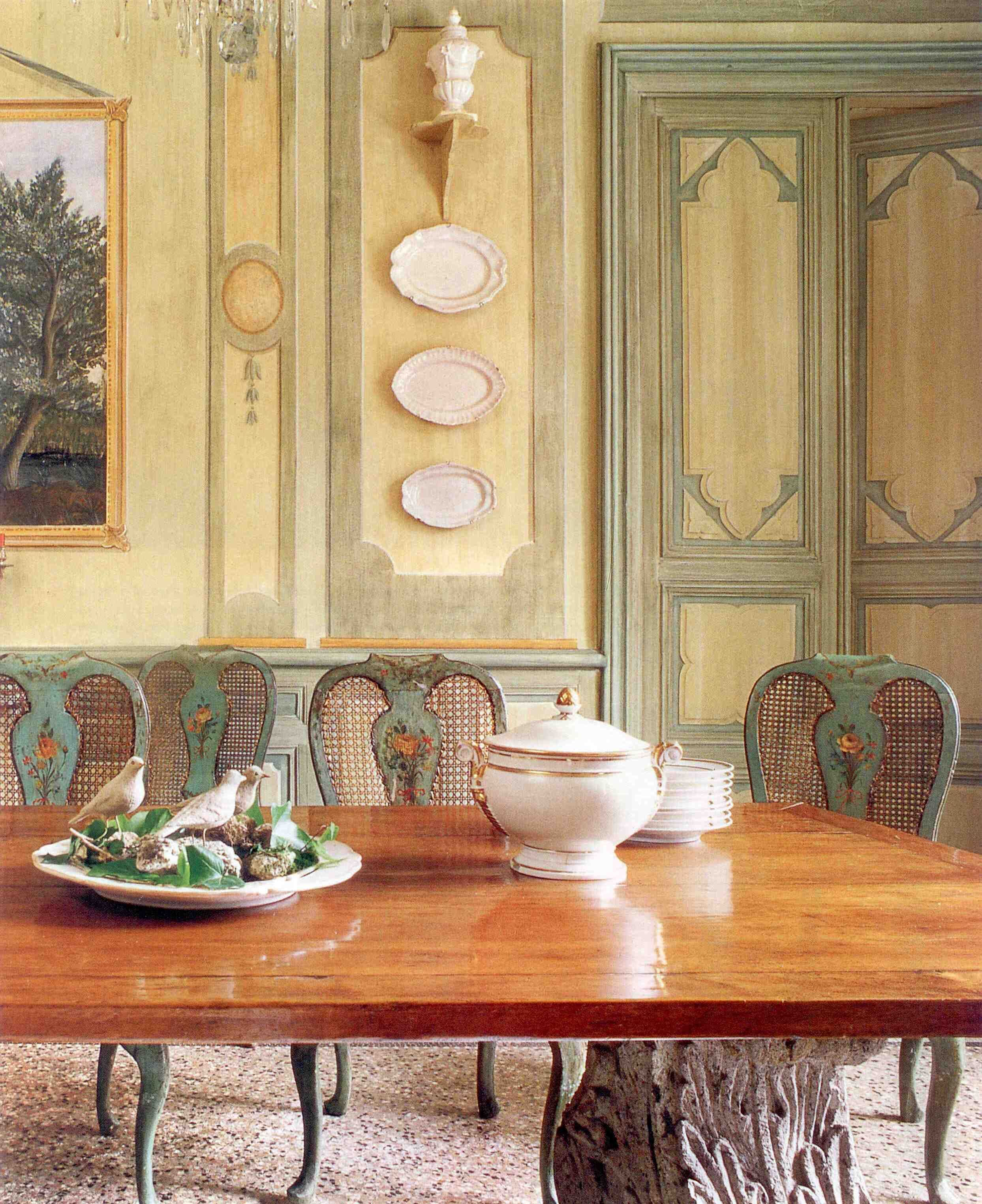 Dining room ~ Jean-Loup Daraux - South of France. I love the bust on ...